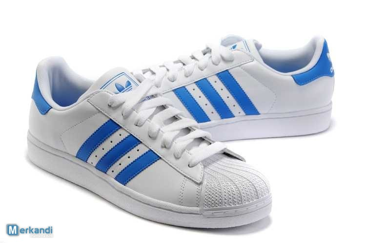 release date 8ff07 cc98b ... hot adidas superstar ladies leather shoes white blue image 2 0834c 94ad8