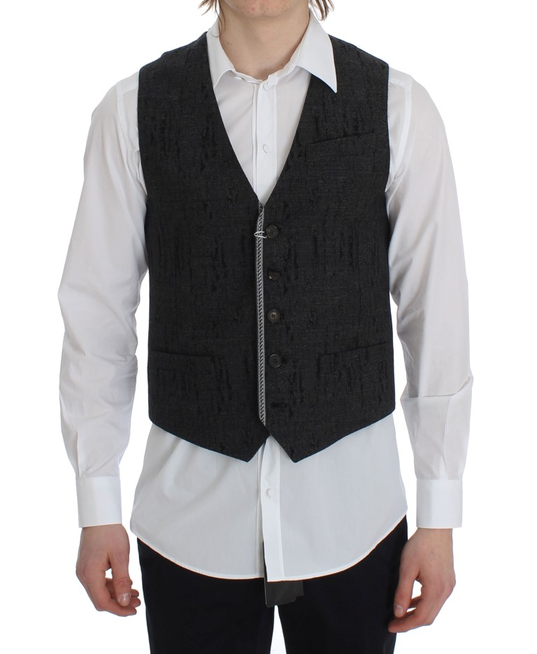 7297957a TOMMY HILFIGER Gray Wool Waistcoat Vests [311858]   Men's clothing ...